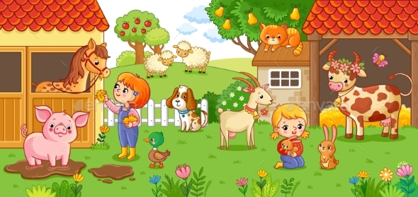 GraphicRiver The Girl and Mother on the Farm 20787627