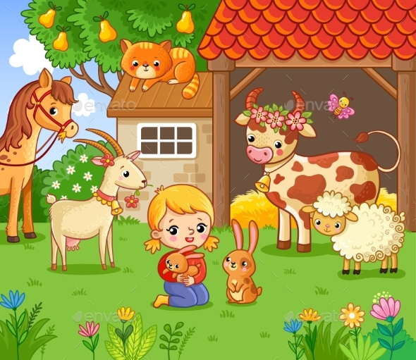Girl on the Farm with the Animals. - Animals Characters
