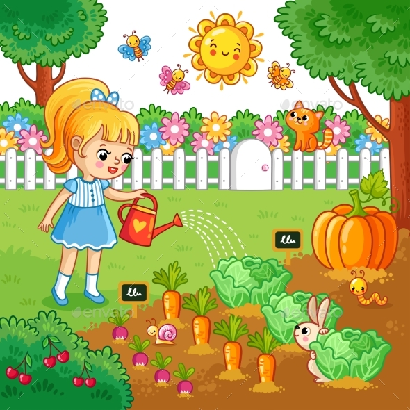 Girl Is Watering Garden Bed with Vegetables. - Flowers & Plants Nature