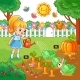 Girl Is Watering Garden Bed with Vegetables. - GraphicRiver Item for Sale