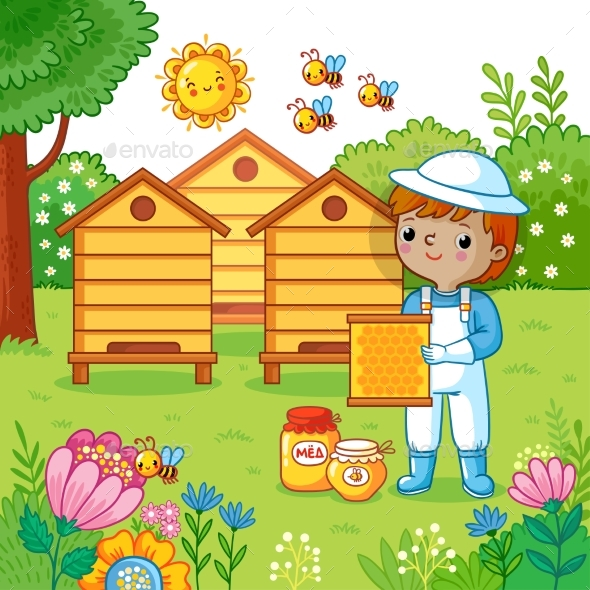 Boy Collects Honey. - Flowers & Plants Nature