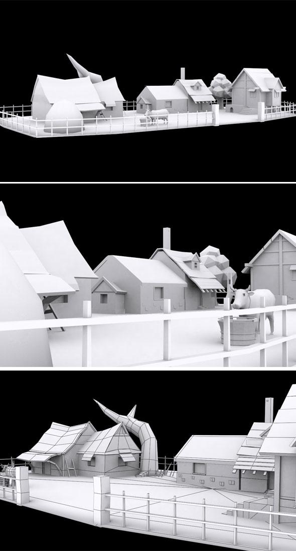 Cartoon Village Model - 3DOcean Item for Sale