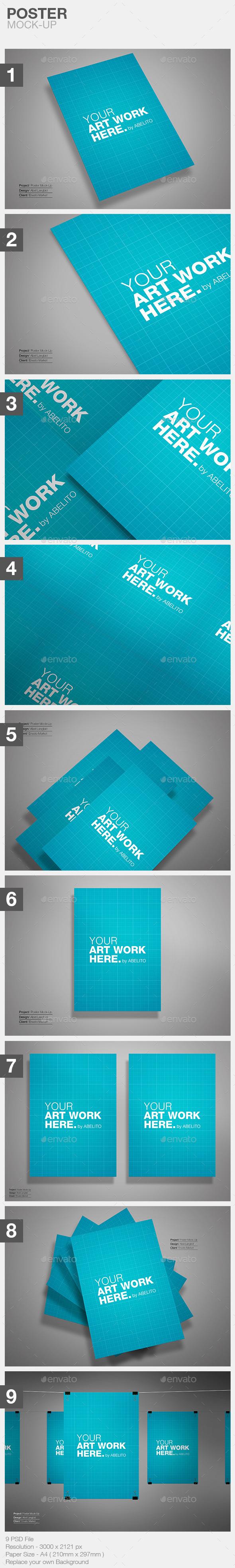 9 Poster Minimal Mockup - Flyers Print