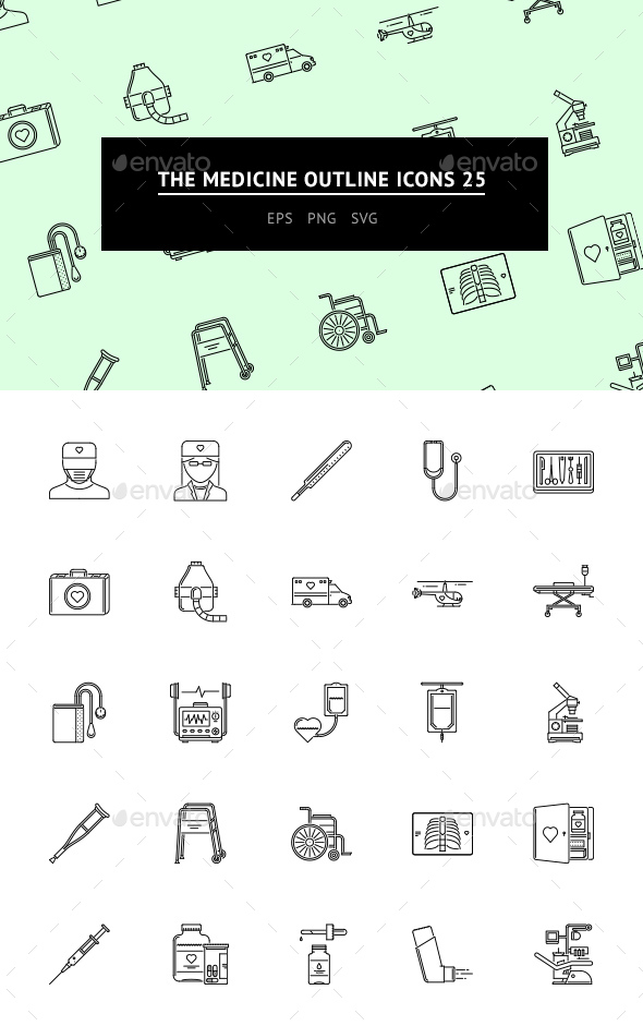 GraphicRiver The Medicine Outline Icons 25 20787719