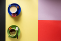cup of coffee and tea at  colorful background - PhotoDune Item for Sale