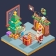Isometric Room Cristmas New Year Santa Claus Icons