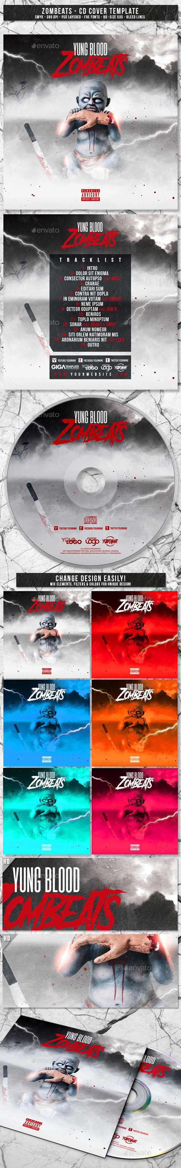 GraphicRiver Zombeats Album CD Mixtape Cover Template 20787941