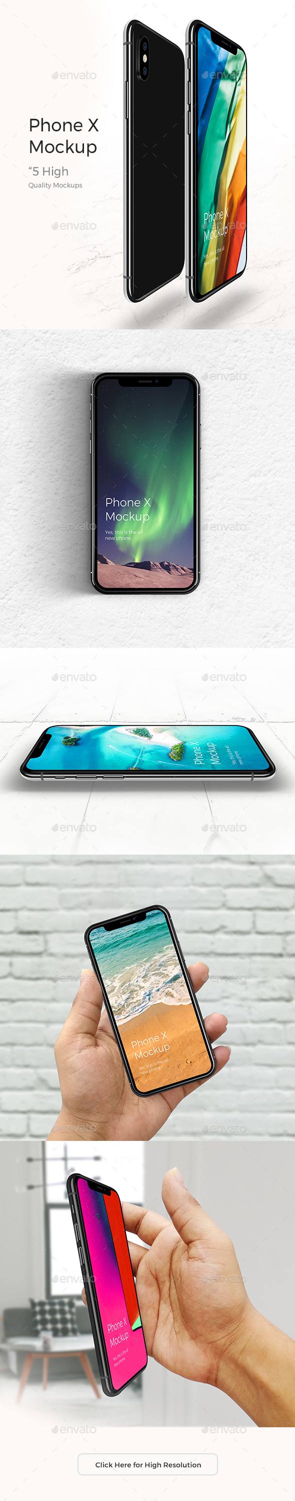 Realistic Phone X Mock-up