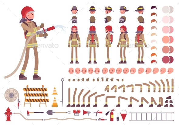 Firefighter Character Creation Set - People Characters