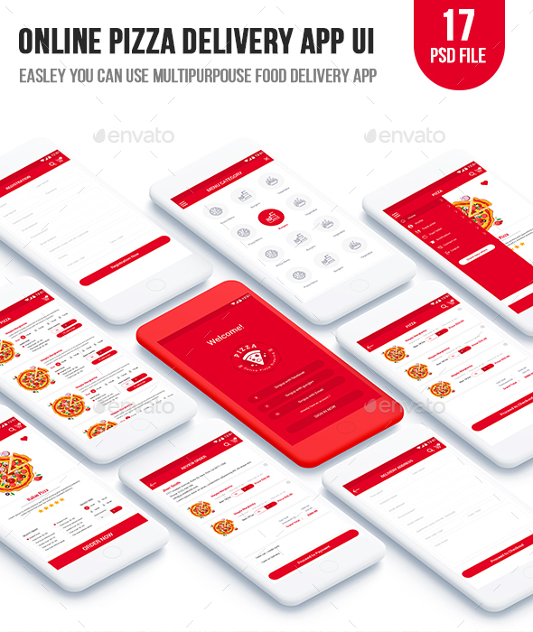 GraphicRiver Online Pizza Delivery App UI 20787998