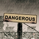 Dangerous Sign Scene With Rain