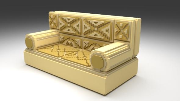 Voxel sofa. - 3DOcean Item for Sale