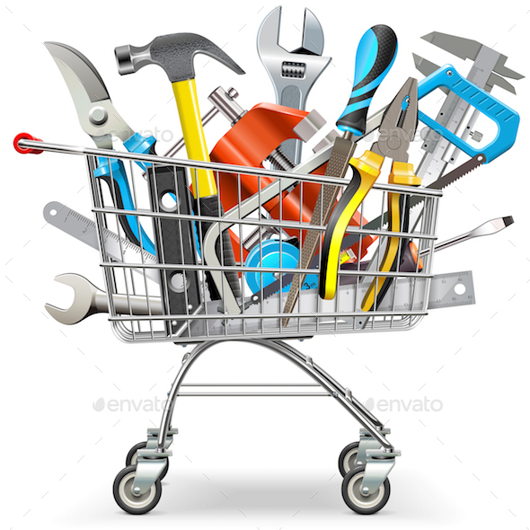 Vector Supermarket Trolley with Hand Tools - Commercial / Shopping Conceptual