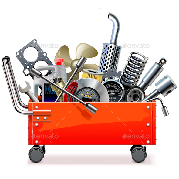 GraphicRiver Vector Toolbox Trolley with Car Spares 20788915