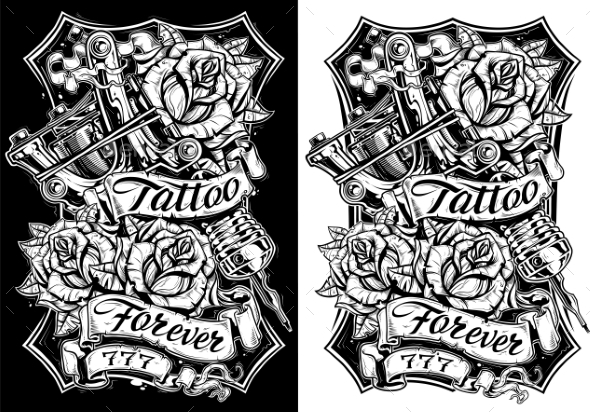GraphicRiver Graphic Black and White Tattoo Machine and Roses 20788964