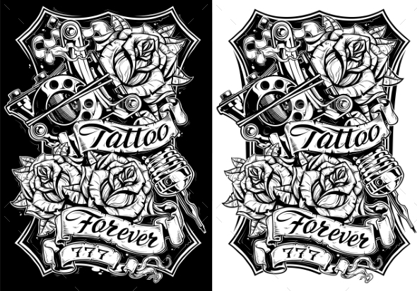 GraphicRiver Black and White Graphic Tattoo Machine and Roses 20788972