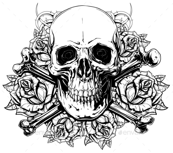 Graphic Human Skull with Crossed Bones and Roses - Decorative Symbols Decorative