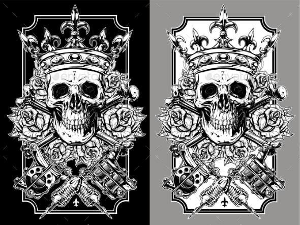 Graphic Skull with Crossed Tattoo Machines Set - Objects Vectors