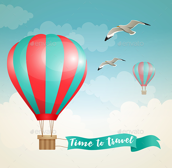 GraphicRiver Air Balloon and Birds in the Sky 20789239
