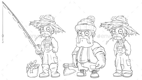 Cartoon Fisherman Farmer Lumberjack Character Set - Miscellaneous Characters
