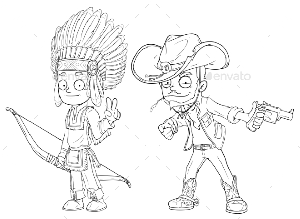 GraphicRiver Cartoon Indian Boy with Bow Cowboy Character Set 20789329