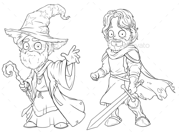 Cartoon Medieval Wizard and Knight Character Set - Miscellaneous Characters