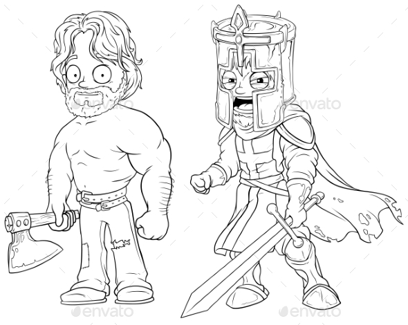 GraphicRiver Cartoon Knight with Axe and Sword Character Set 20789336