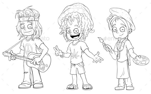 GraphicRiver Cartoon Hippie with Guitar Jamaican Character Set 20789345