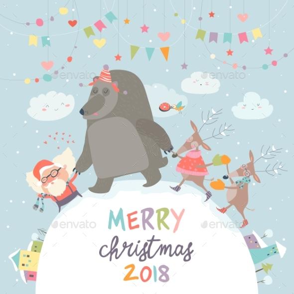 Santa ,Reindeer and Bear Celebrating Christmas - Christmas Seasons/Holidays