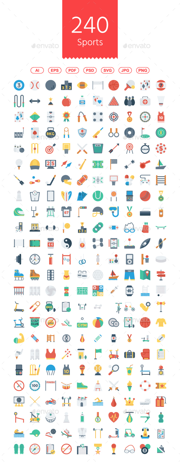 Sports and Fitness Flat icons - Web Icons