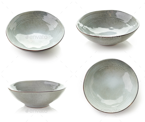 Empty grey bowls - Stock Photo - Images