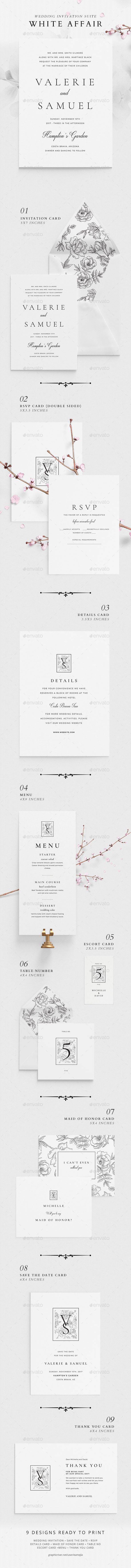 Wedding Invitation Suite - White Affair - Weddings Cards & Invites