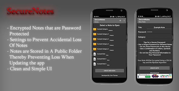 (Android) SecureNotes - CodeCanyon Item for Sale