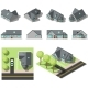 Set of Simple Isometric Houses - GraphicRiver Item for Sale