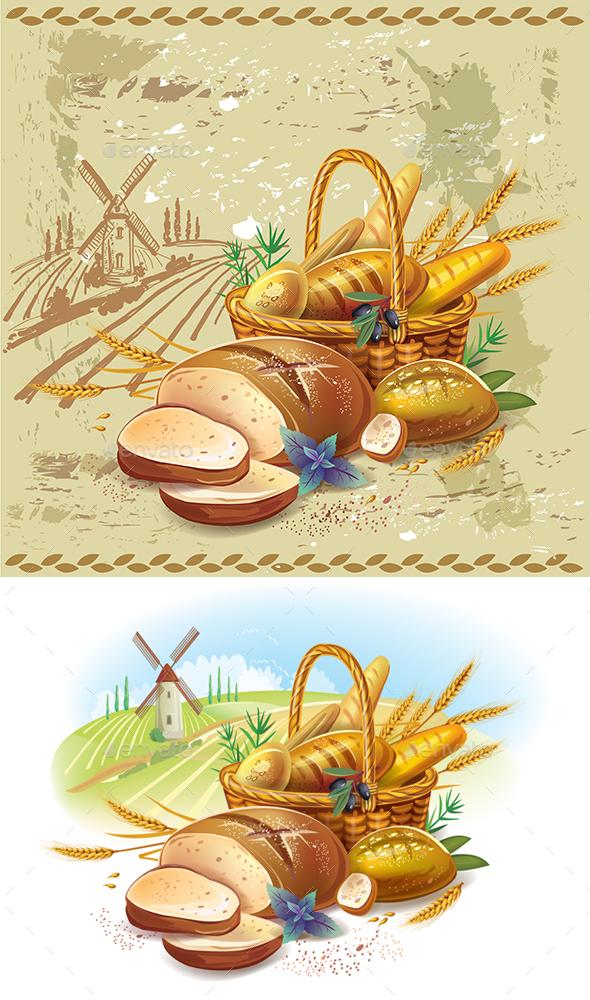 Breads in Basket - Food Objects