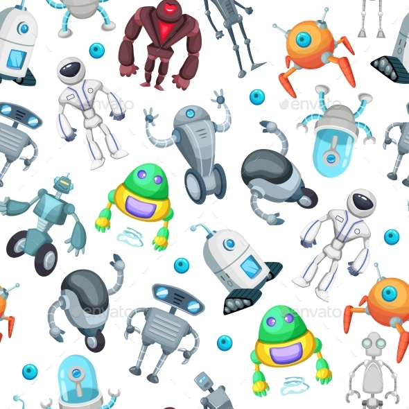 GraphicRiver Seamless Pattern with Robots 20790026