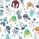 Seamless Pattern with Robots.