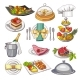 Colored Illustration of Restaurant Food Set