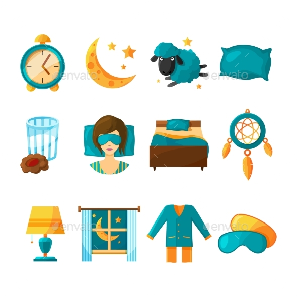 GraphicRiver Conceptual Icon Set for Sleeping 20790157