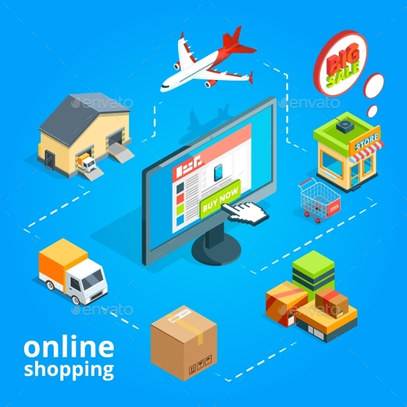 GraphicRiver Concept Illustration of Buying Items in Online 20790165