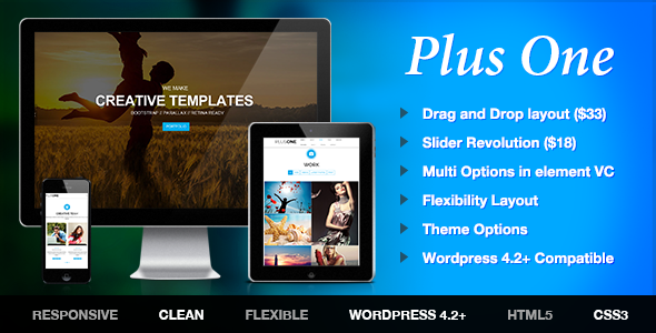 Plus - One Page Marketing Portfolio WordPress Theme Free Templates