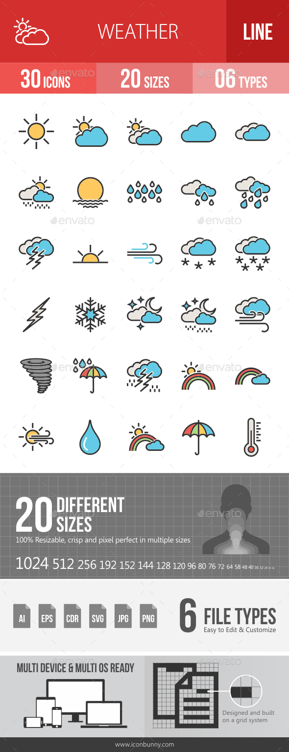 GraphicRiver Weather Filled Line Icons 20790743