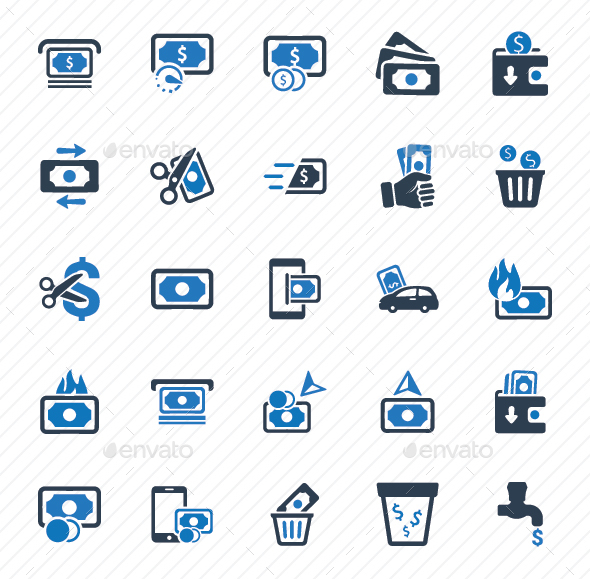 Money Icons - Blue Version - Business Icons