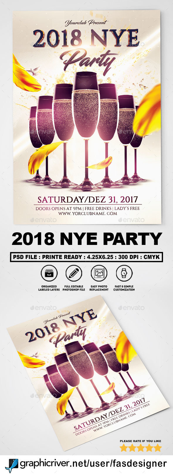 GraphicRiver 2018 NYE Party Flyer Template 20791153