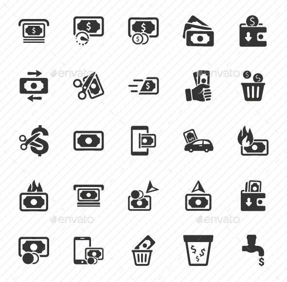 GraphicRiver Money Icons Gray Version 20791155