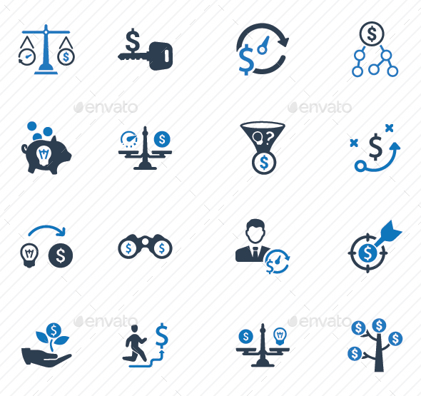 Money Making Strategy Icons - Blue Version - Business Icons