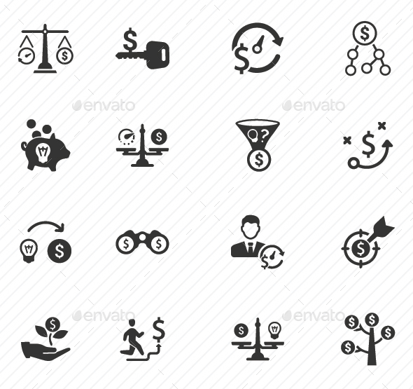 Money Making Strategy Icons - Gray Version - Web Icons
