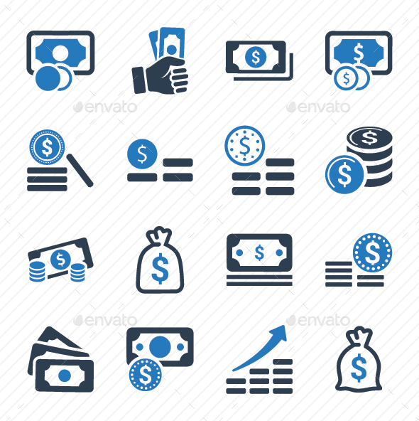 GraphicRiver Money Stacks Icons Blue Version 20791197