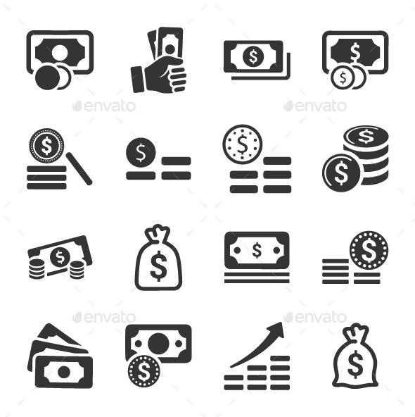 GraphicRiver Money Stacks Icons Gray Version 20791210