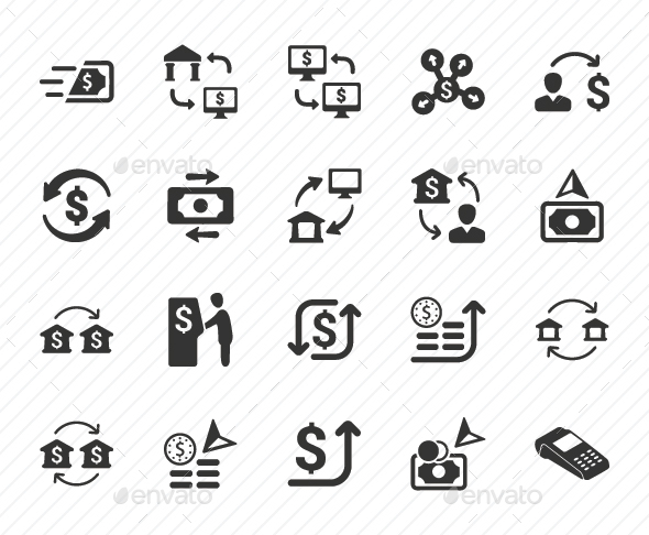 GraphicRiver Money Transaction Icons Gray Version 20791233